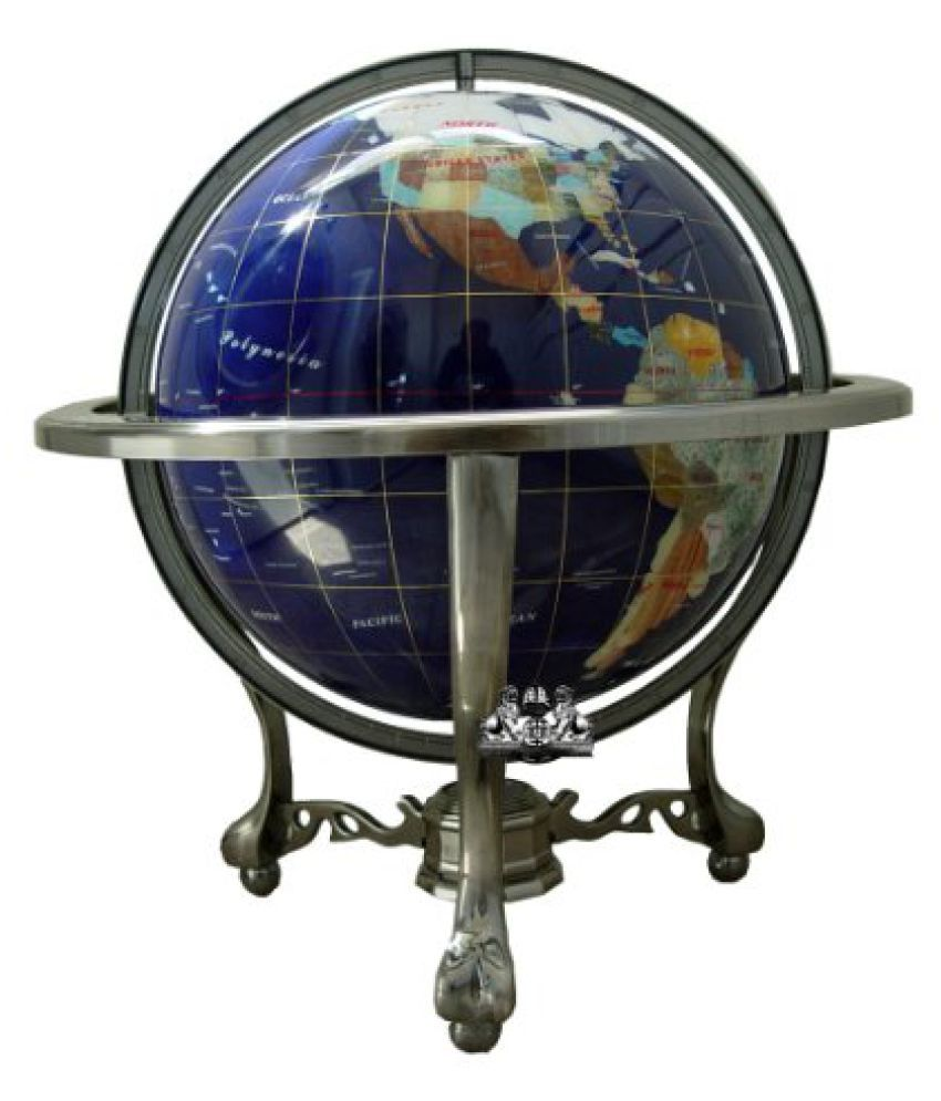 Unique Art 21-Inch Tall Blue Lapis Ocean Table Top Gemstone World Globe with Silver Tripod and Separ