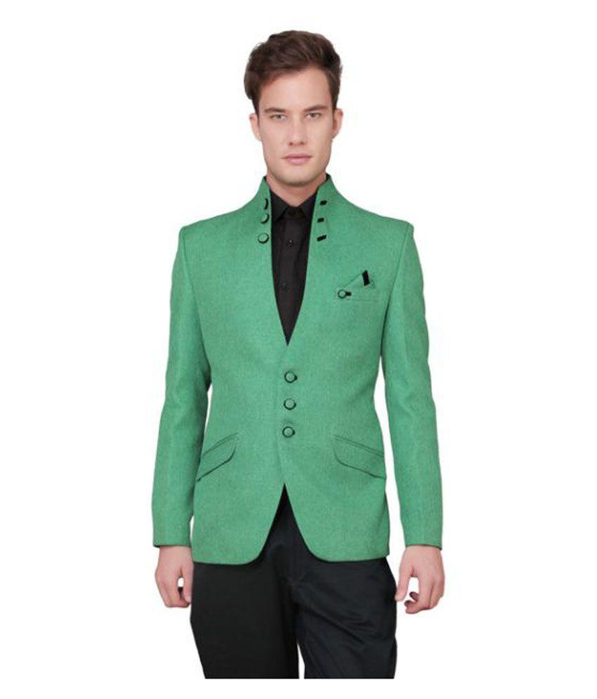 Ajay Arvindbhai Khatri Green Solid Party Blazers
