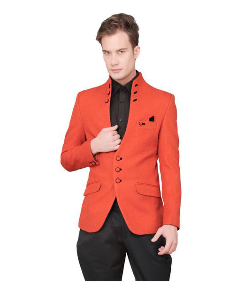 Ajay Arvindbhai Khatri Orange Solid Party Blazers