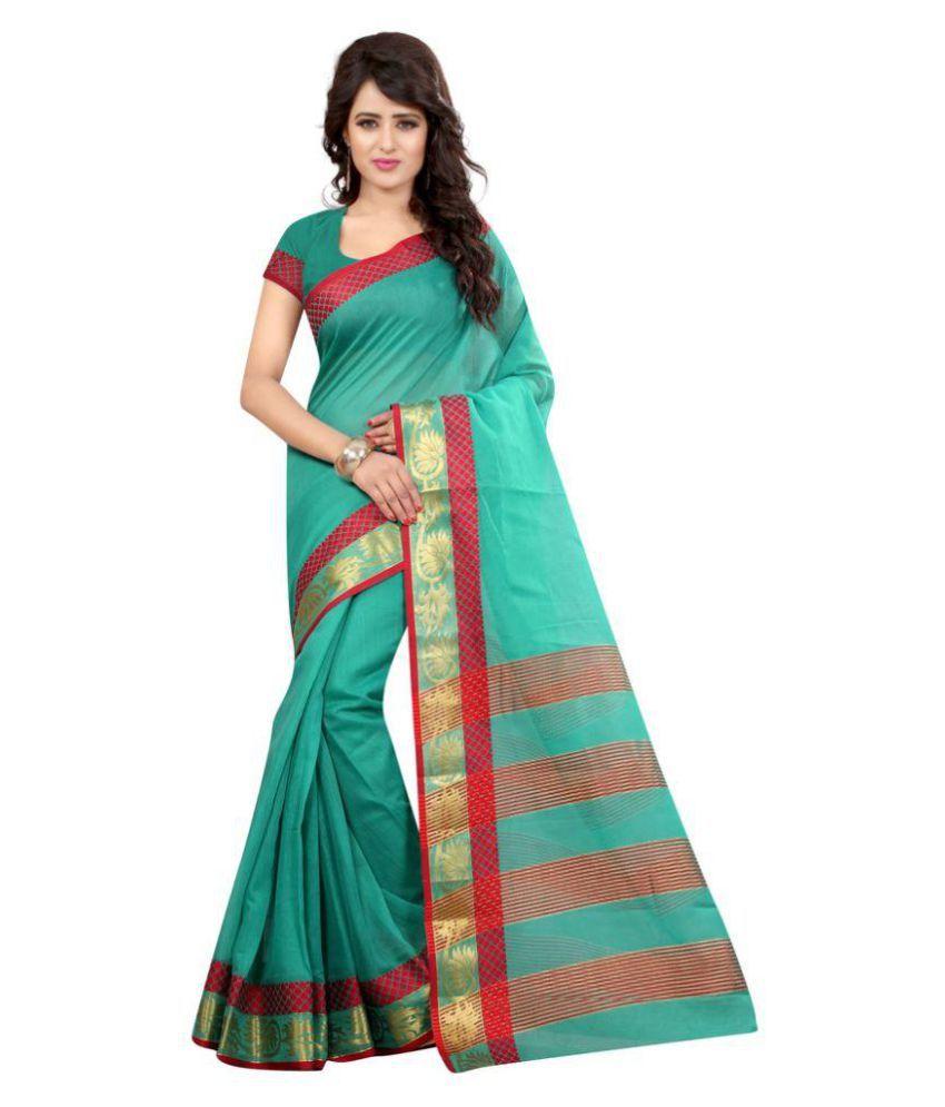 EDEAL ONLINE Green Cotton Silk Saree