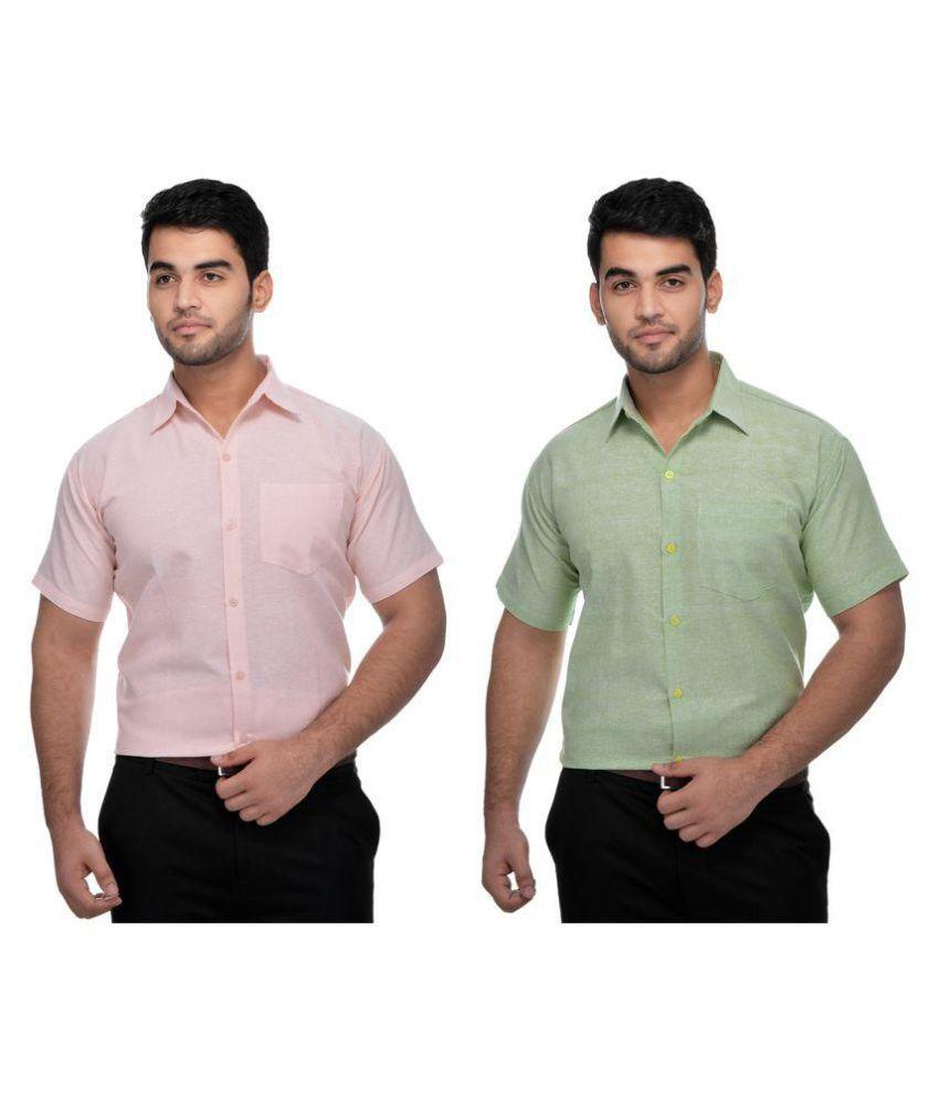 Khadi Multi Formal Regular Fit Shirt Pack Of 2