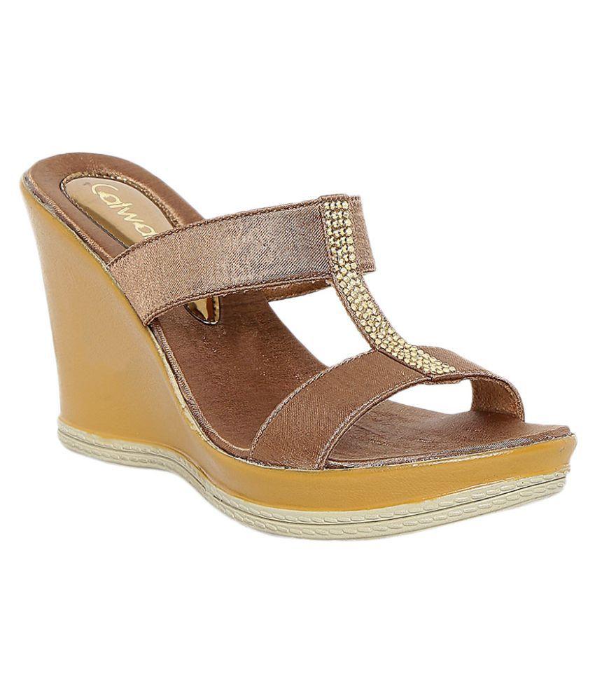 fb454ab504f6cd Catwalk Gold Wedges Heels Price in India- Buy Catwalk Gold Wedges Heels  Online at Snapdeal