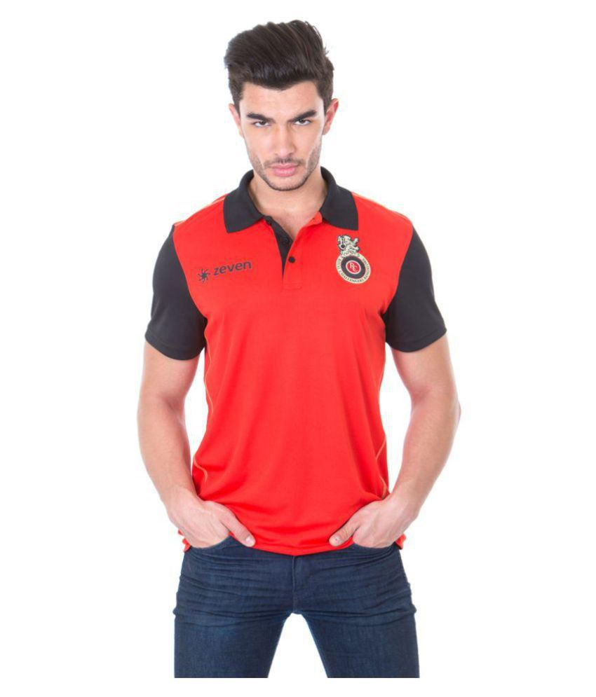Zeven Red Polyester Polo T-Shirt Single Pack
