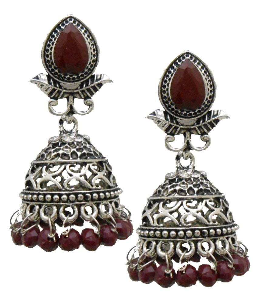 My Design Silver Jhumki Earrings