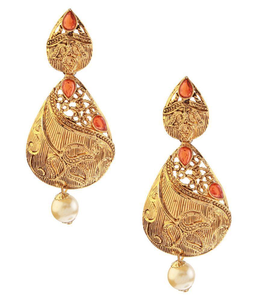 Kriaa Golden Hanging Earrings