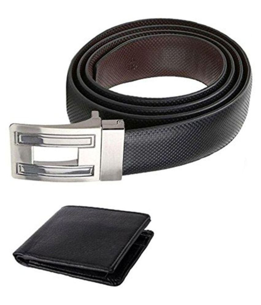 Coovs Black Leather Formal Belts with Wallet