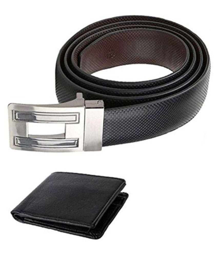 Coovs Black Leather Formal Belts with Wallet