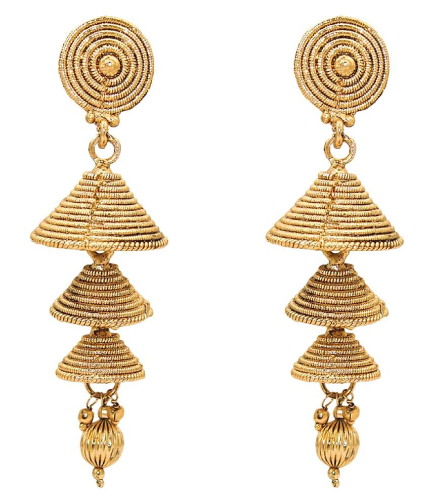 Kriaa Golden Jhumki Earrings