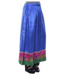 Springdeal Blue Poly Satin A-Line Skirt