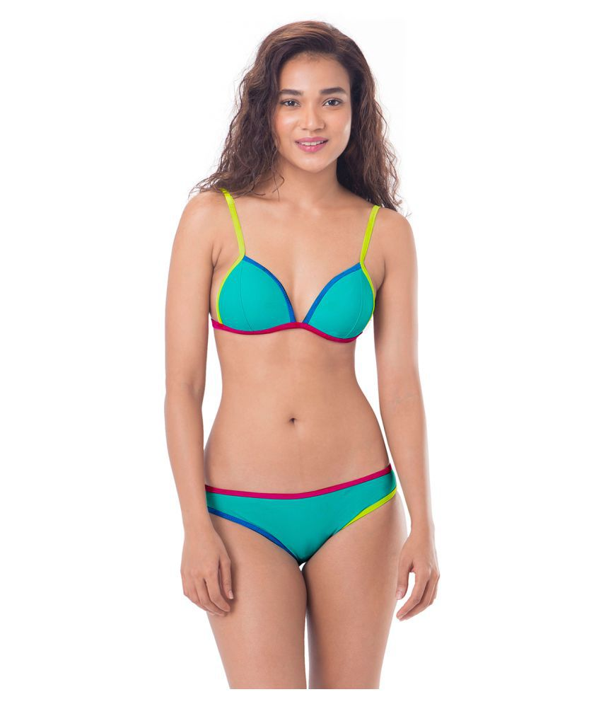a6f337c3842d Buy Prettysecrets Turquoise Nylon Bikini Online at Best Prices in India -  Snapdeal