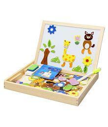 Montez Magnetic Jigsaw Puzzle Two-Sided Whiteboard & Blackboard Educational Wooden Toy