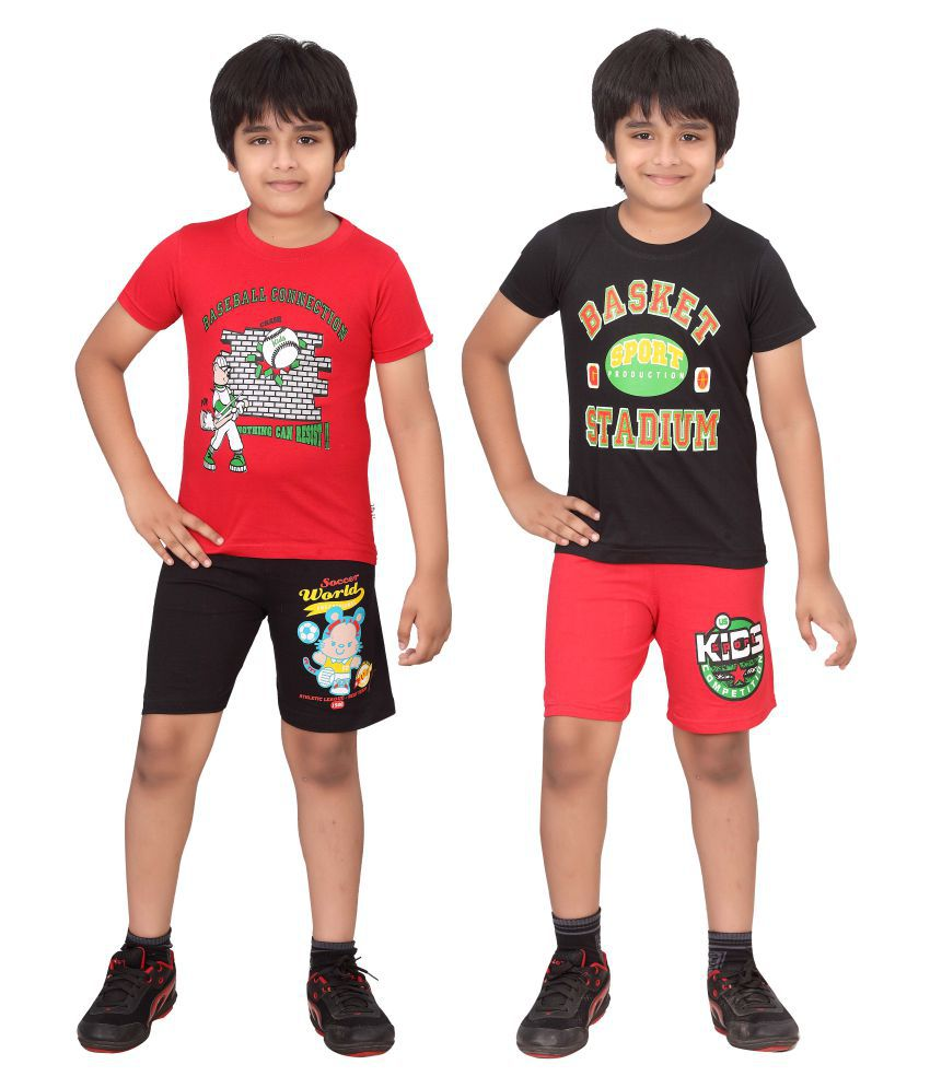 Dongli Multicolor T-Shirt and Shorts - Pack of 2