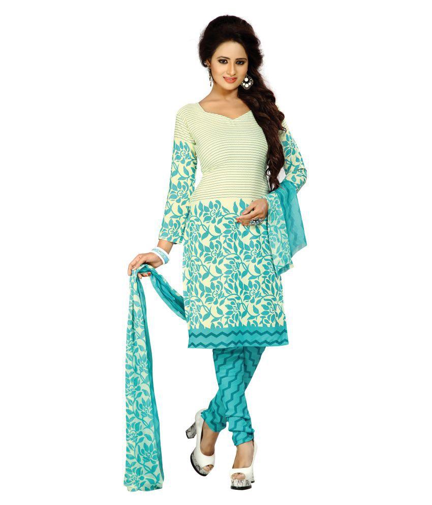 Latest Fancy Designer Multicoloured Crepe Dress Material