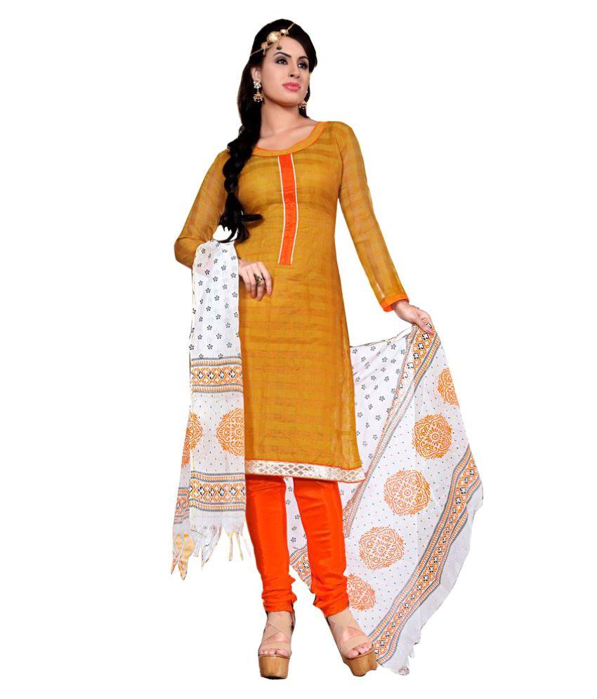 Dhanlaxmi International Neon Yellow Chanderi Dress Material