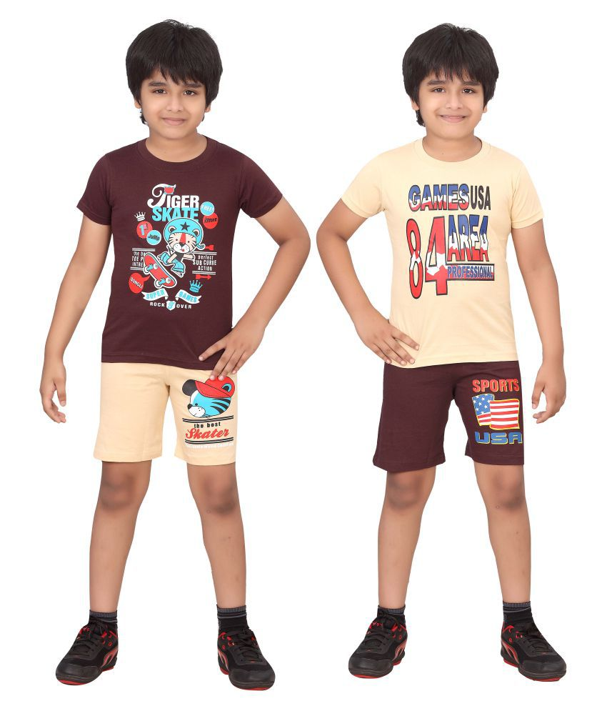 Dongli Multicolor Cotton T-Shirt and Shorts - Pack of 2