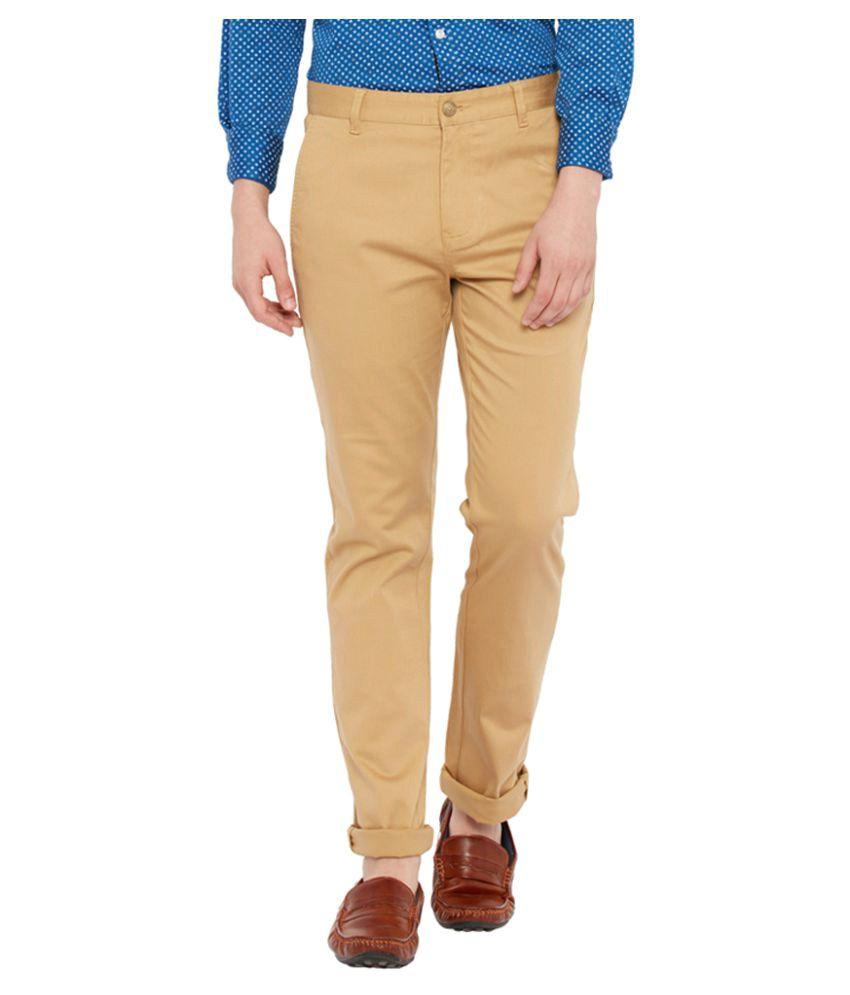 Parx Khaki Slim Flat Trouser