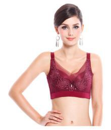 Godinattire Maroon Lace Push Up Bra