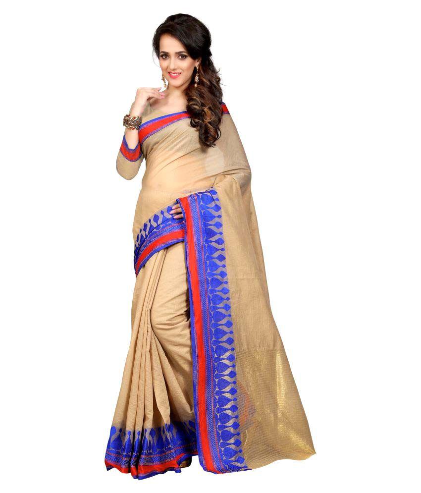 Inheart Beige Banarasi Silk Saree