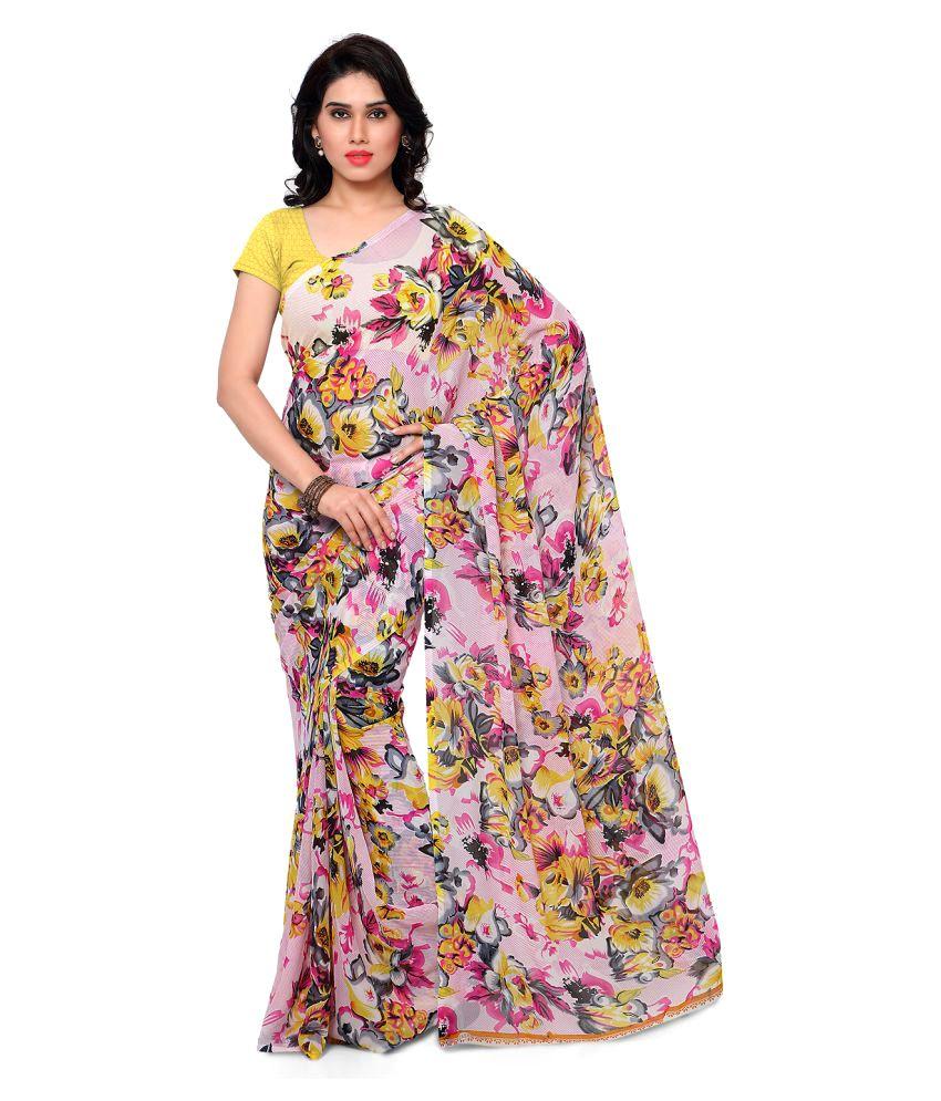 Melluhafshion Multicoloured Georgette Saree