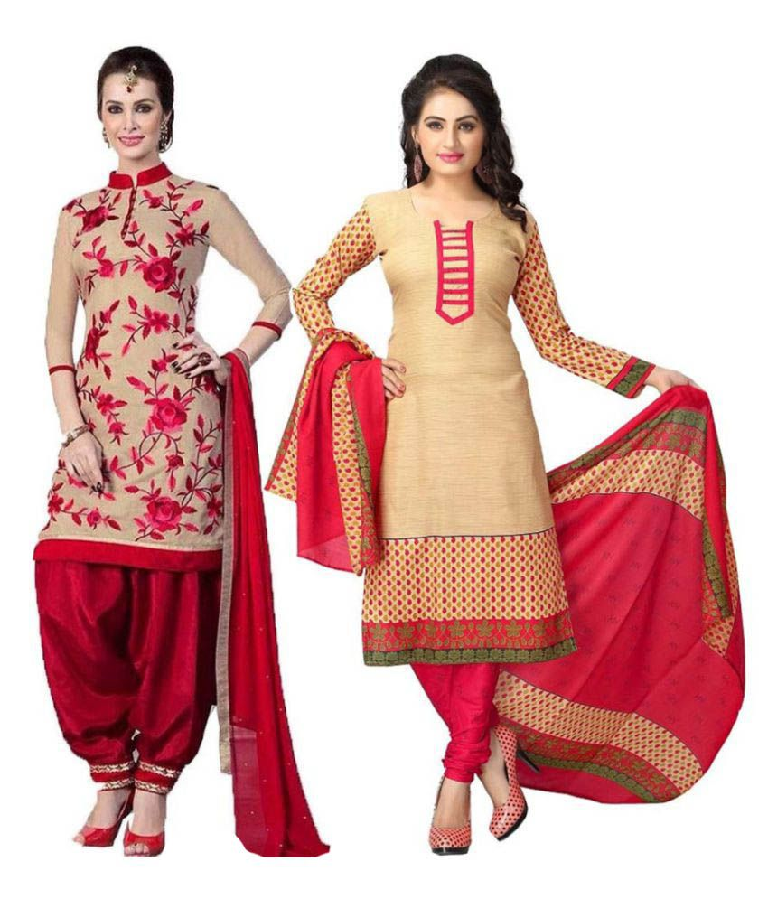 Yashika Multicoloured Crepe Dress Material