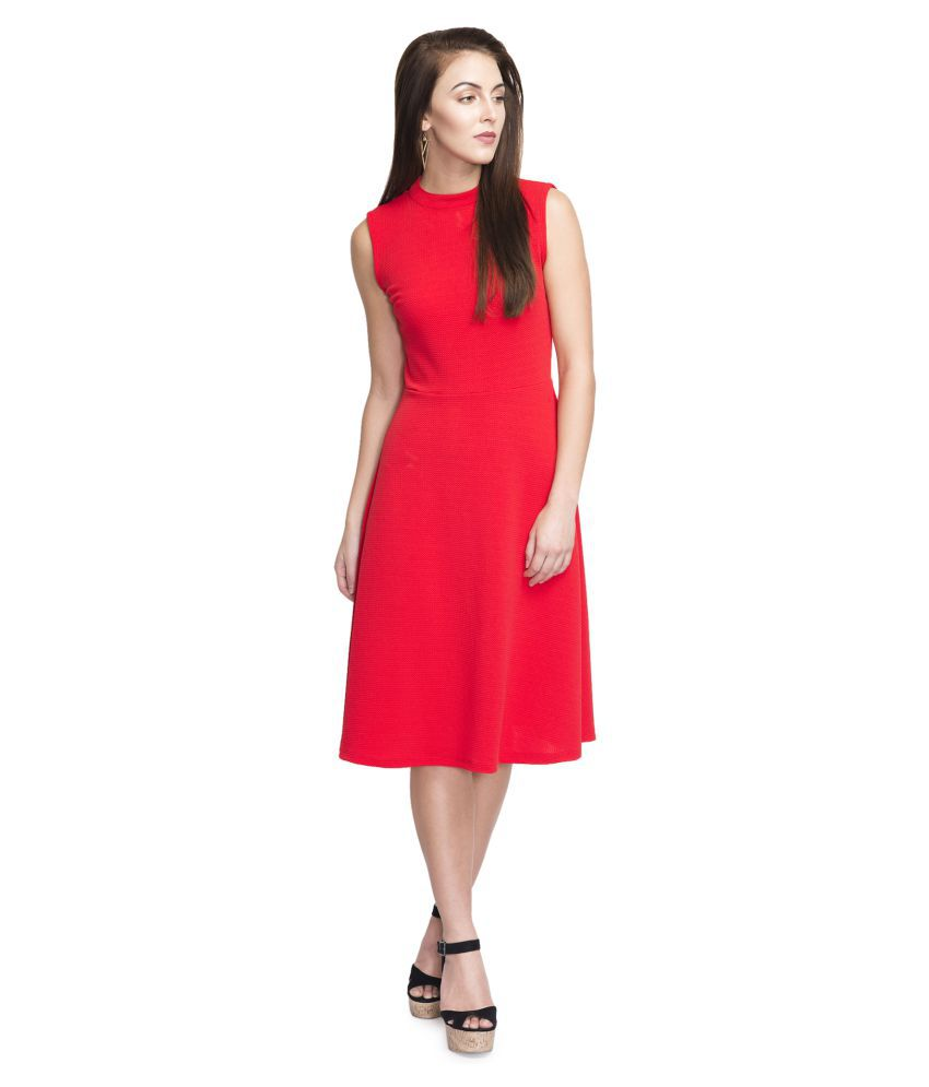 Addyvero Red Cotton Lycra Dresses