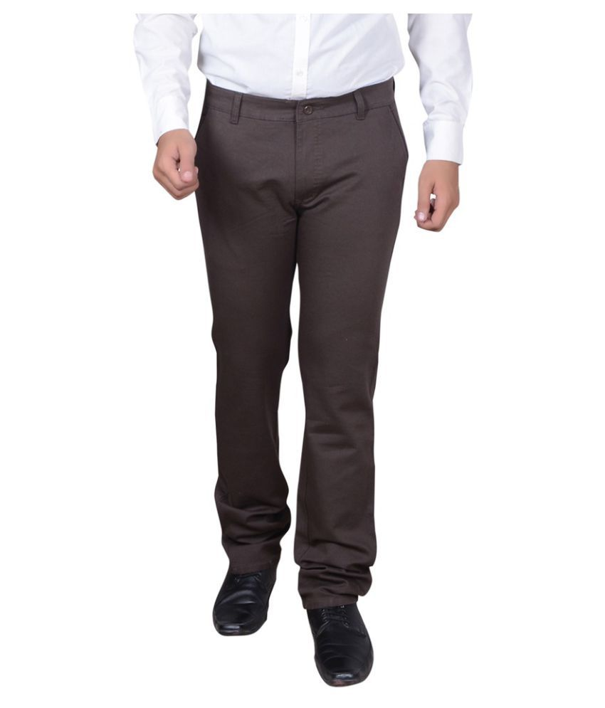Capy Brown Regular Flat Trouser