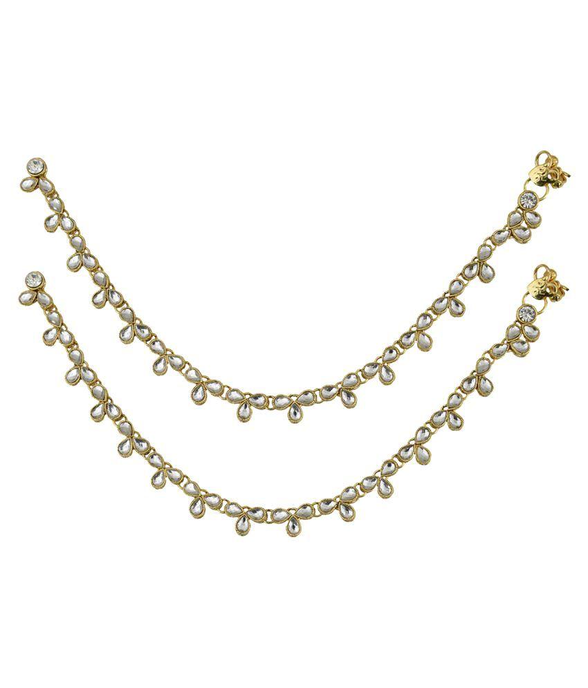 Taj Pearl Golden Anklet - Pack of 2
