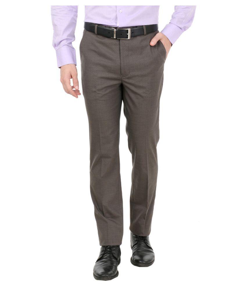 Zido Brown Slim Flat Trouser