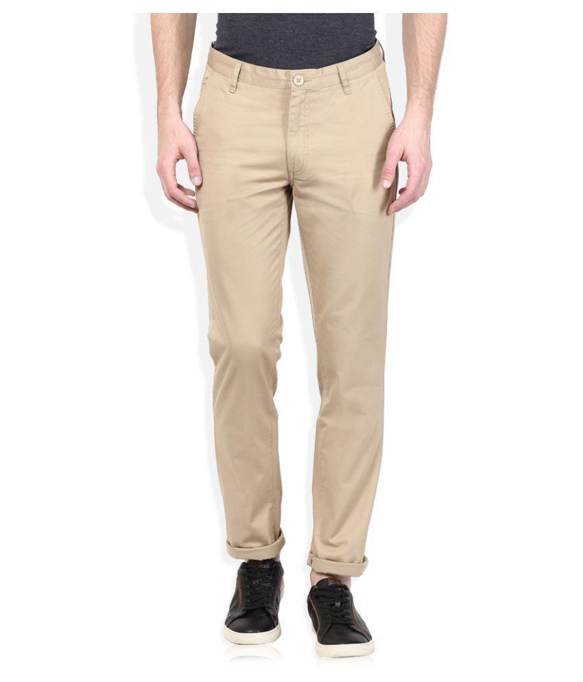 John Players Beige Regular Flat Trouser