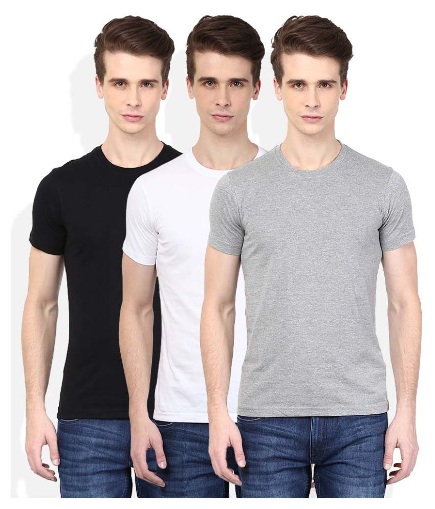 John Players Multi Round T-Shirt Pack of 3