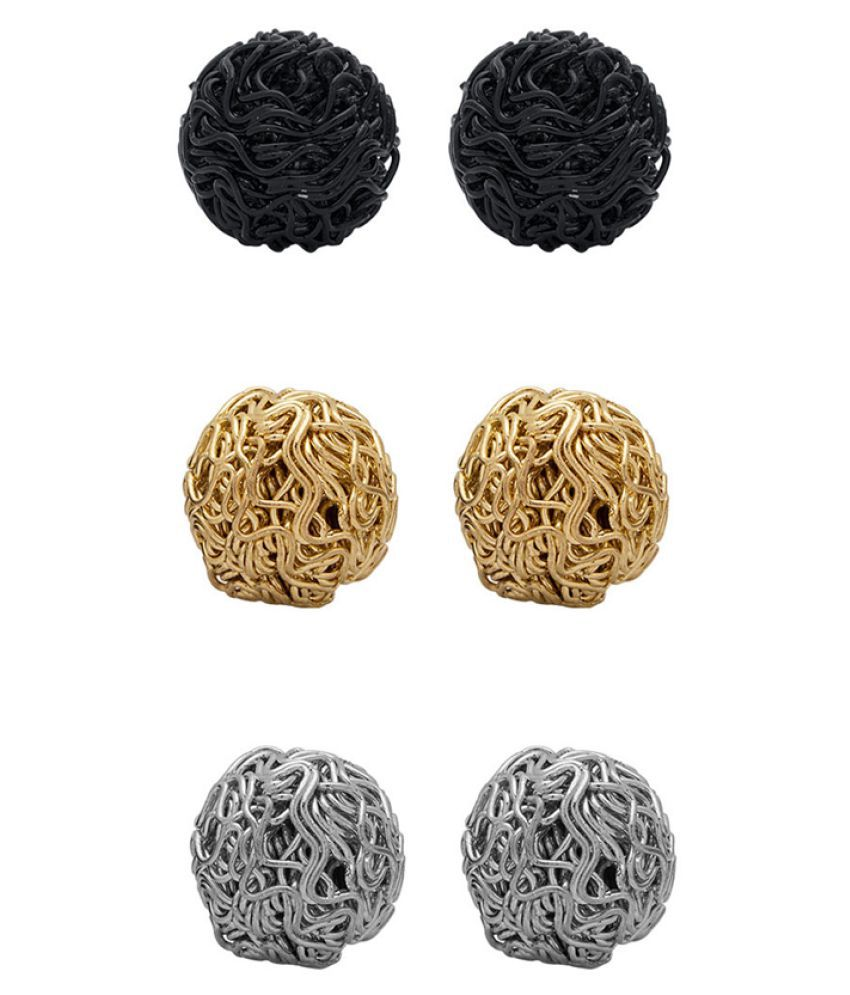 Voylla Multicolour 3 Pair Stud Earrings with Silver Coin