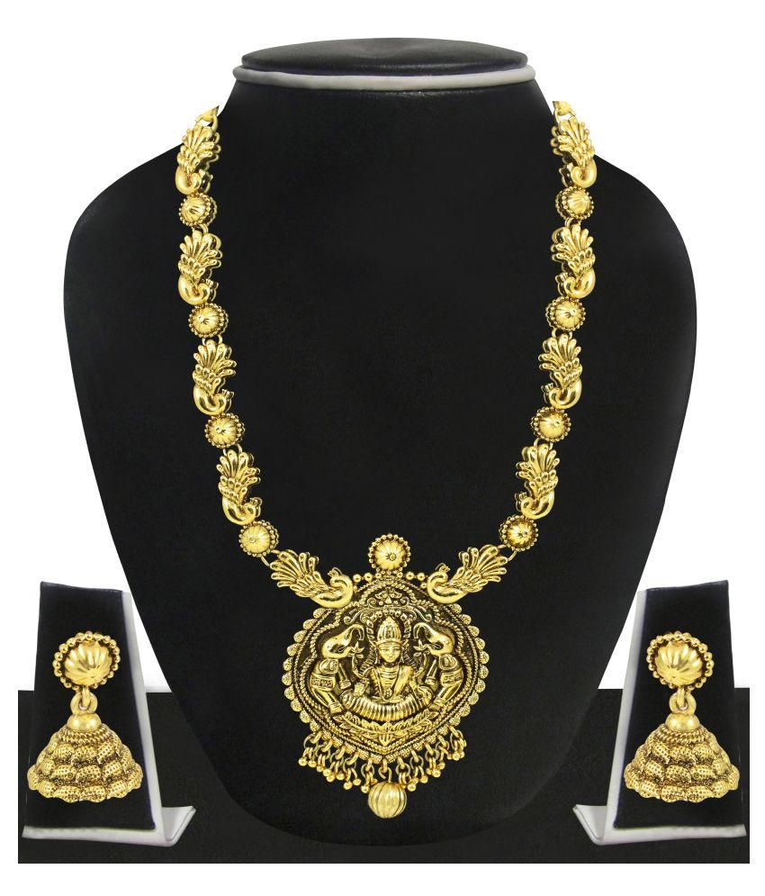 Zaveri Pearls Golden Alloy Designer Necklace Set