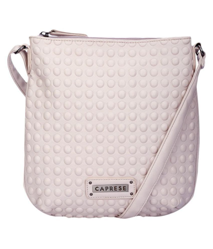 Caprese White Faux Leather Sling Bag