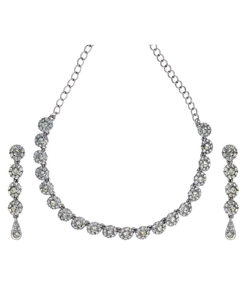 Zaveri Pearls Silver Alloy Necklace Set