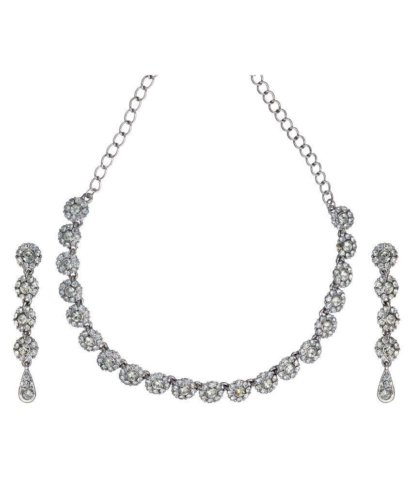 Zaveri Pearls Silver Alloy Necklace Set