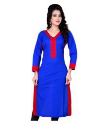 Yashika Blue Poly Cotton Plain Semi Stitched Kurti