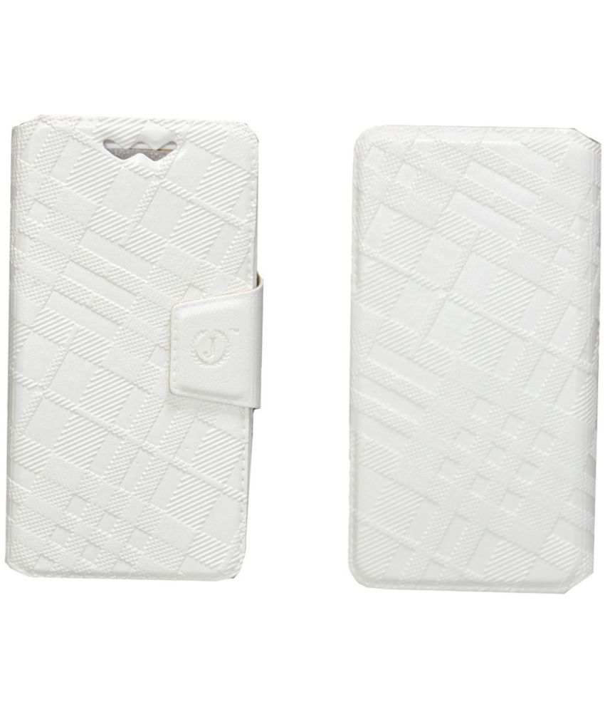 Xolo A800 Flip Cover by Jojo   White available at SnapDeal for Rs.590