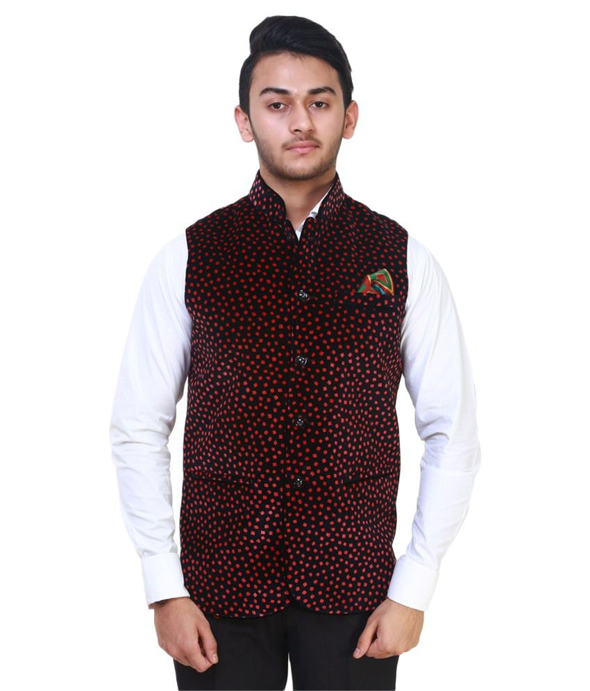 MDS Jeans Red Printed Casual Waistcoats