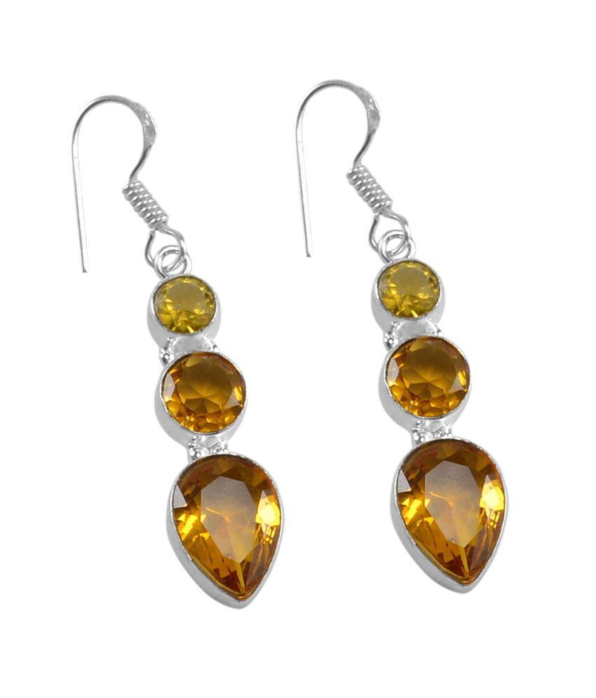 Citrine Quartz 925 Silver Plated Dangle Earrings PG-25326