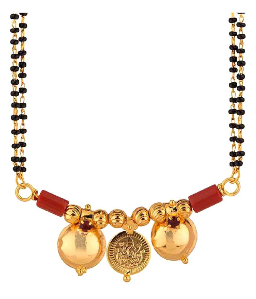 Memoir Gold Plated 3 Coin, Ruby Colour Stone Studded, Laxmi Coin & Double Waati Mangalsutra for Women…