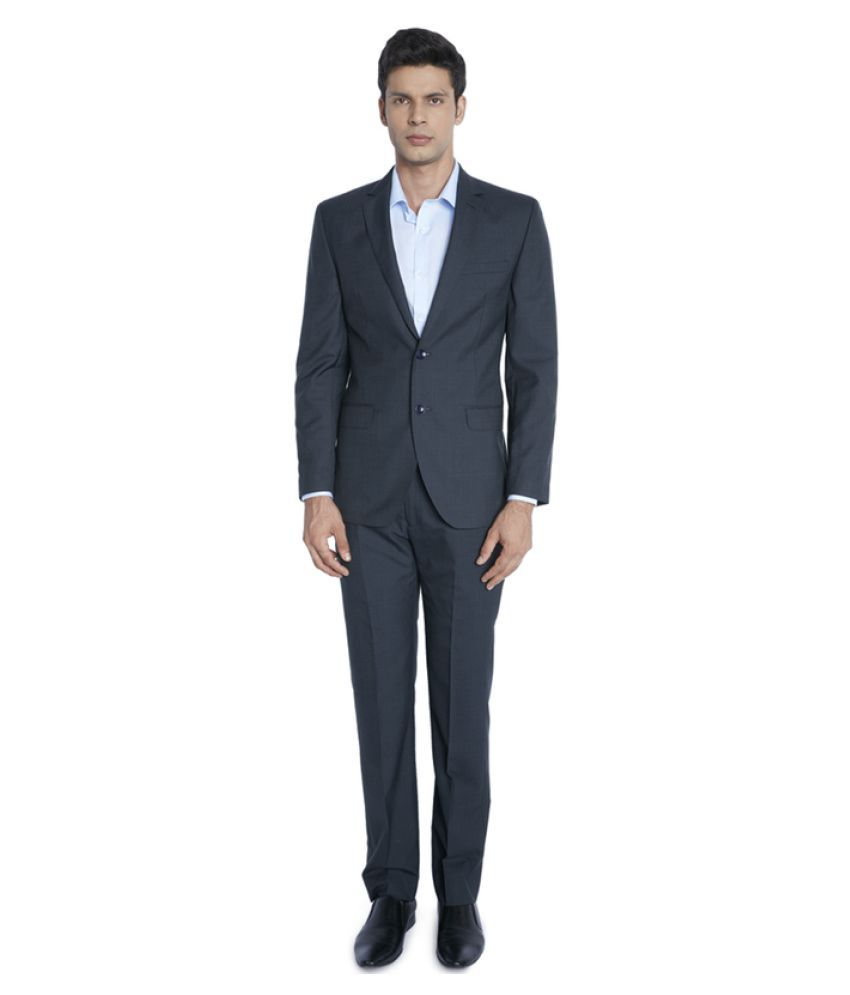 Park Avenue Blue Solid Formal Suit
