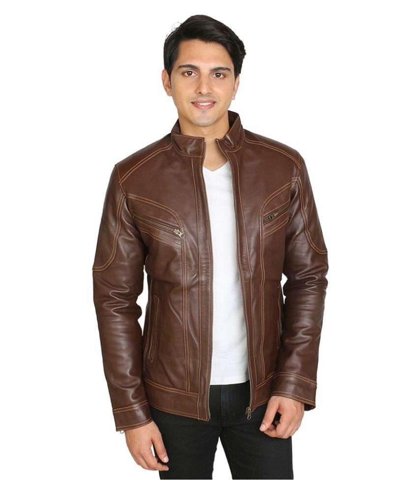 C Comfort Brown Leather Jacket - Buy C Comfort Brown ...