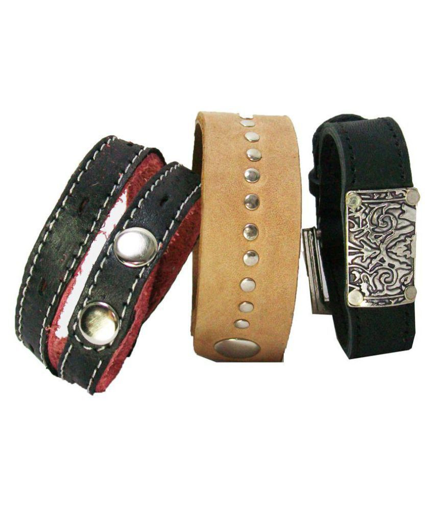 Sakhi Styles Multicolour Faux Leather bracelet Combo pack Of 3pices