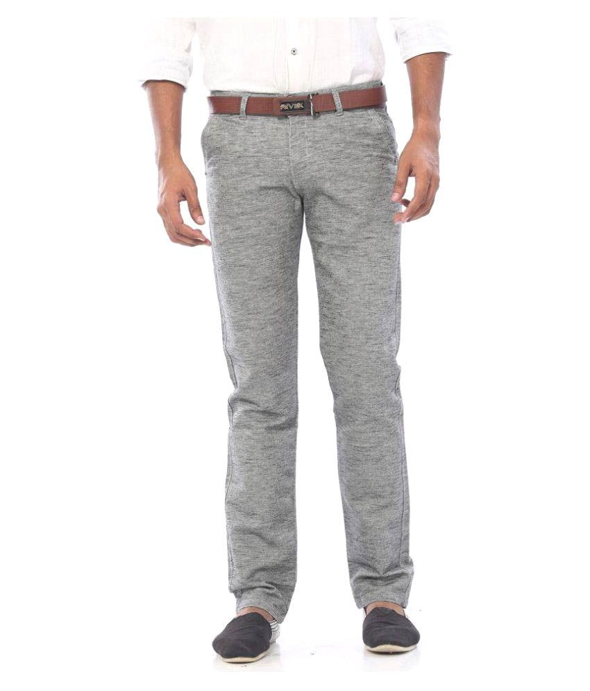 Rivex Grey Regular Pleated Trouser