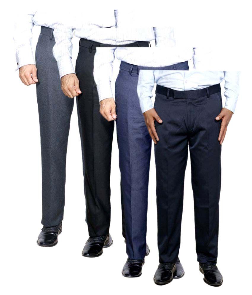 IndiWeaves Multi Regular Flat Trouser