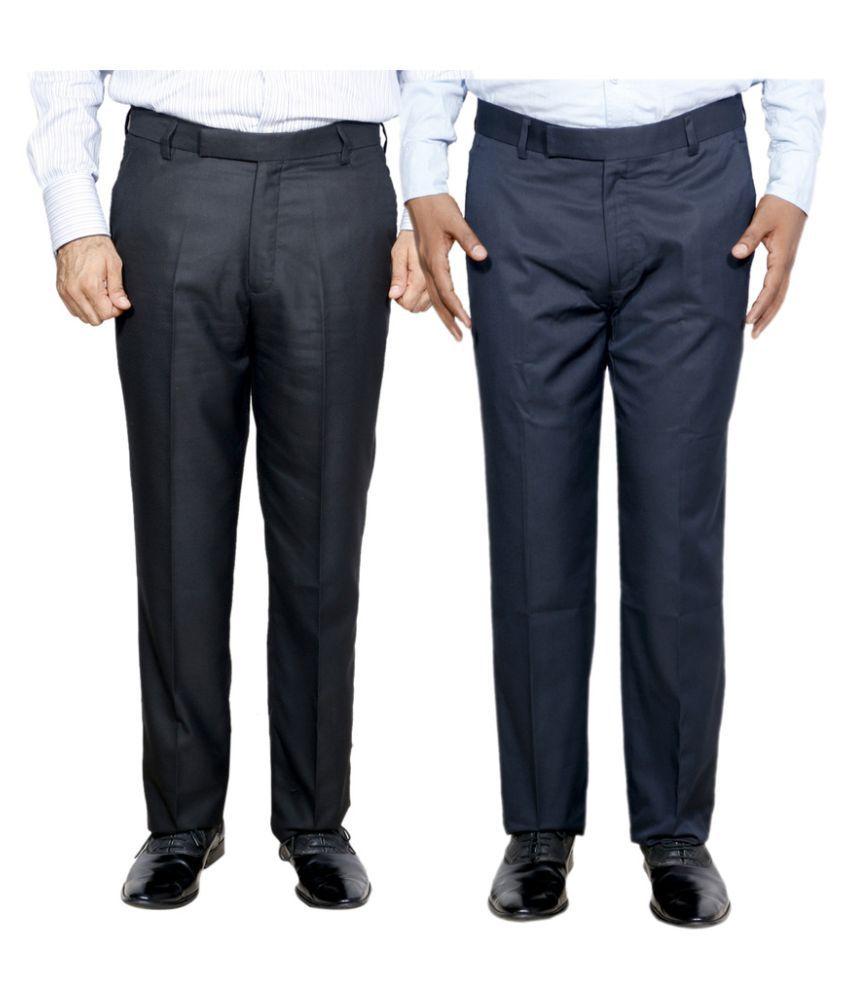 IndiWeaves Multicolored Regular Flat Trouser