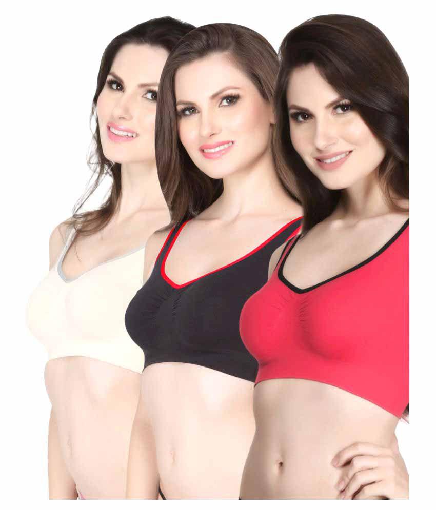 Clovia Multi Color Nylon T-Shirt/ Seamless Bra