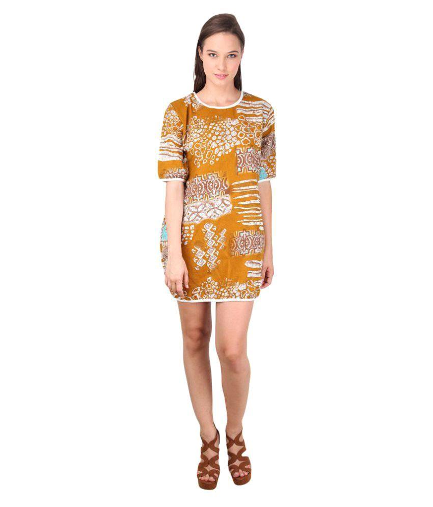 Godinattire European Print Loose Day Dress- Beige