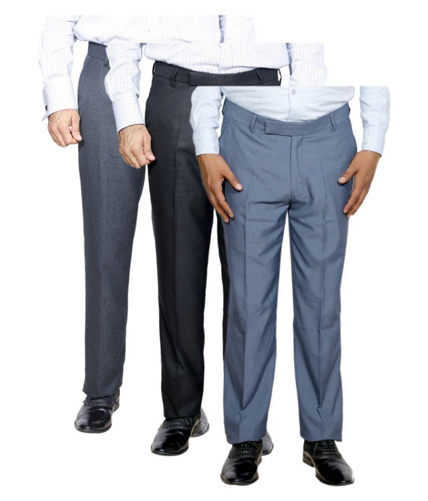 IndiWeaves Multicolored Regular Flat Trouser - Pack of 3