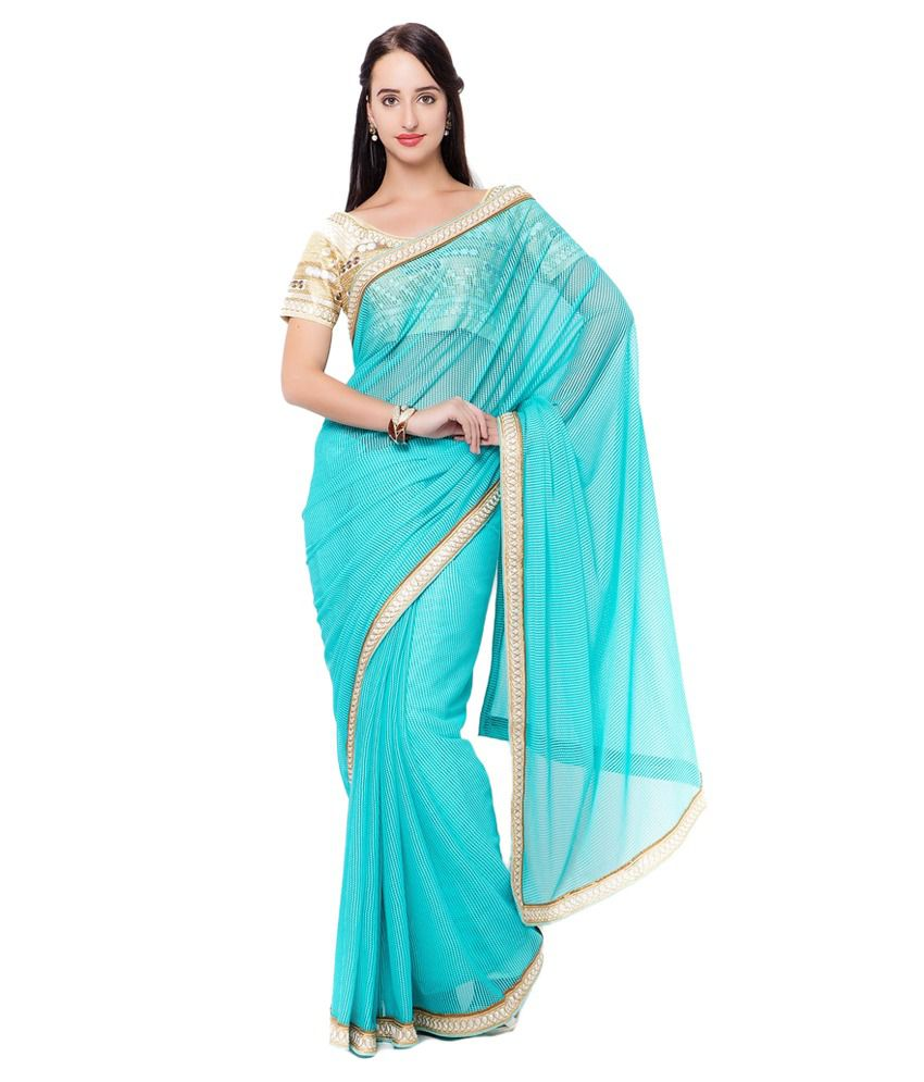 Prachi Silk Mills Blue Lycra Saree